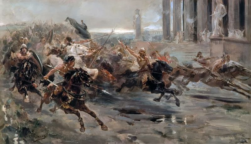 A painting showing invasion of Rome by the huns